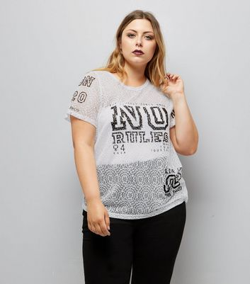 Curves White No Rules Lace T-Shirt