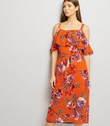 Bright Orange Floral Print Cold Shoulder Midi Dress