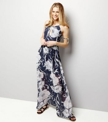 Blue Vanilla Navy Chiffon Floral Print Maxi Dress