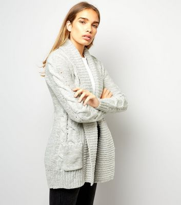 Pale Grey Cable Knit Cardigan