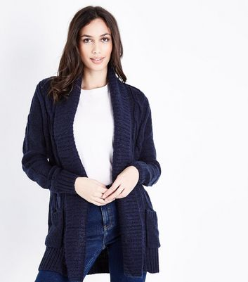 Navy Cable Knit Cardigan