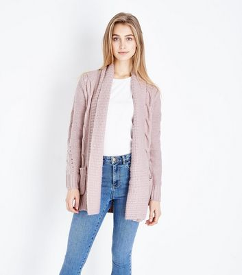 Shell Pink Cable Knit Cardigan