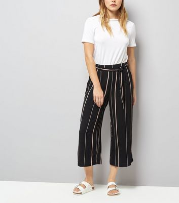 Black Tie Waist Stripe Cropped Trousers