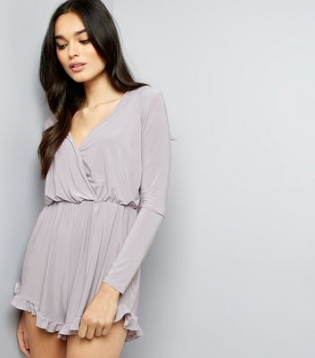 Pink Vanilla Grey Frill Trim Wrap Front Playsuit
