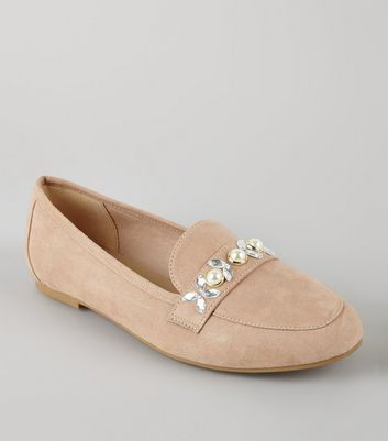 Cream Suedette Embellished Loafers