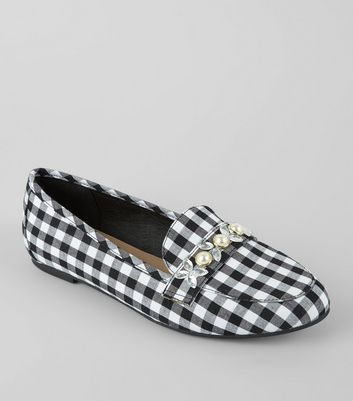 Black Gingham Embellished Loafers