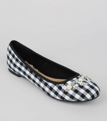 Black Gingham Embellished Pumps