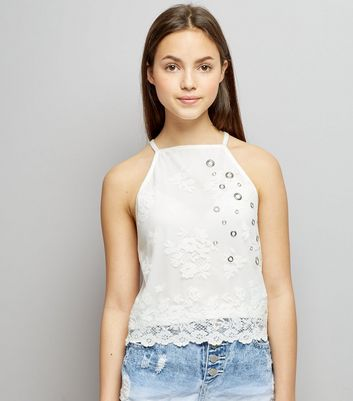 Teens Cream Lace Eyelet High Neck Cami