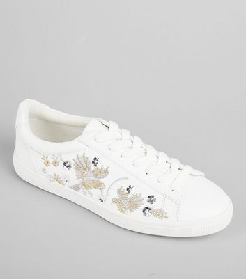 White Bird Embroidered Lace Up Trainers