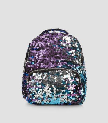 Black Sequin Mini Backpack