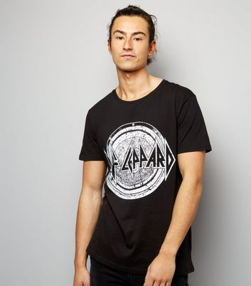 Black Def Leppard Print Short Sleeve T-Shirt