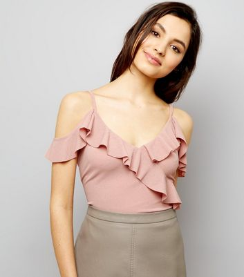 Pink Frill Trim Cold Shoulder Bodysuit