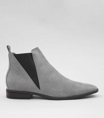 Grey Suedette Chelsea Boots