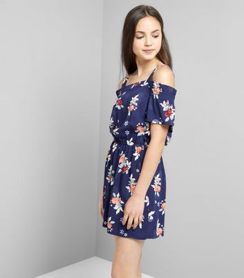 Teens Blue Floral Print Bardot Neck Playsuit