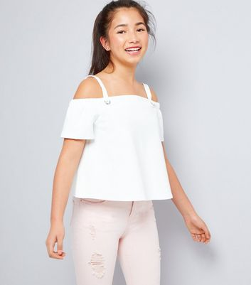 Teens White Eyelet Strap Cold Shoulder Top