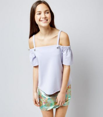 Teens Lilac Eyelet Strap Cold Shoulder Top
