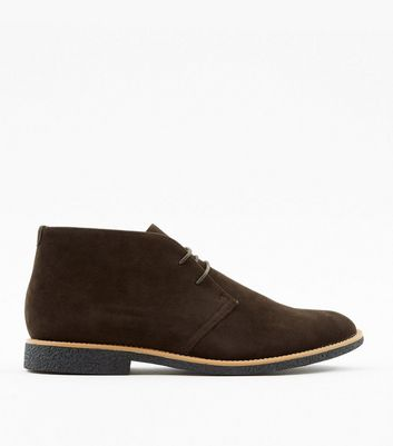 Dunkelbraune Desert Boots in Wildleder-Optik