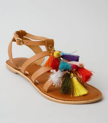 Tan Leather Multi Tassel Gladiator Sandals