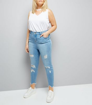 Curves Pale Blue Distressed Skinny Jeans