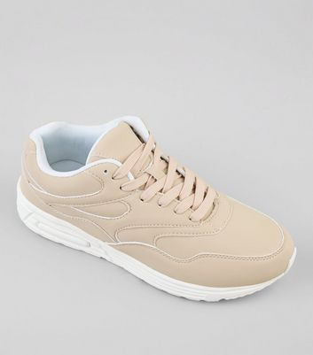 Cream Seam Trim Suedette Trainers