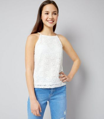 Teens Cream Floral Lace High Neck Cami