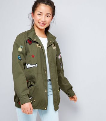 Teens Khaki Badge Detail Jacket