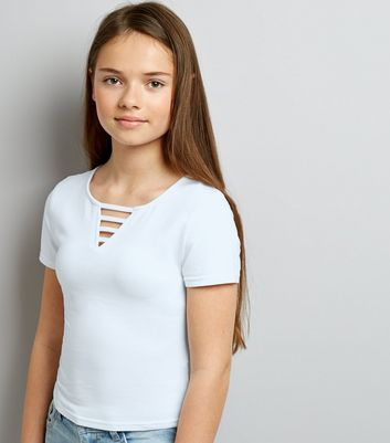 Teens White Lattice Front T-Shirt