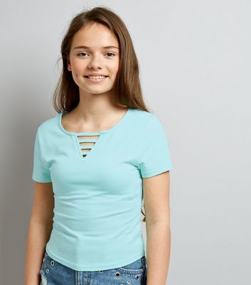 Teens Mint Green Lattice Front T-Shirt