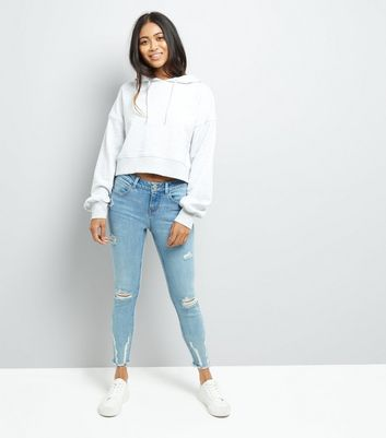 Petite Blue Ripped Skinny Jeans