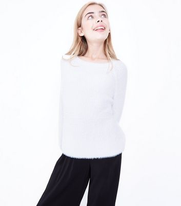 Teens Cream Faux Angora Jumper