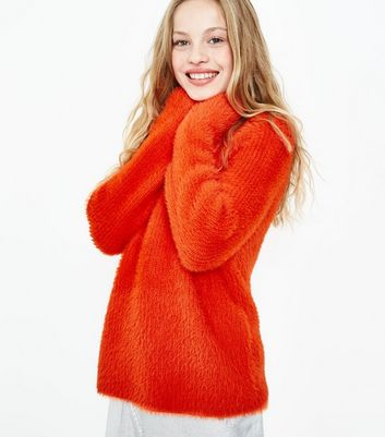 Teens Orange Fluffy Cropped Jumper