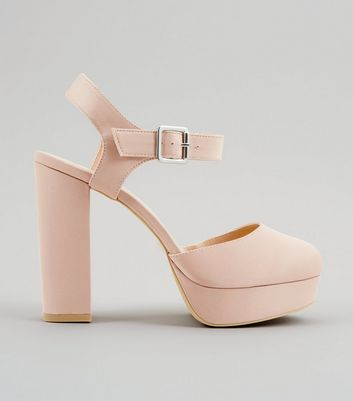 Wide Fit Pink Satin Platform Heels