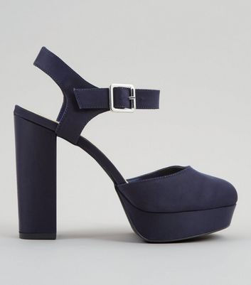 Wide Fit Navy Satin Platform Heels