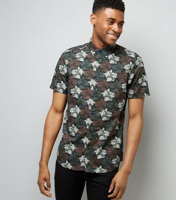 Burgundy Floral Short Sleeve Shirt