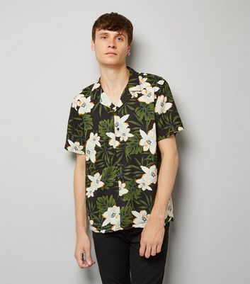 Black Tropical Floral Print Short Shirt