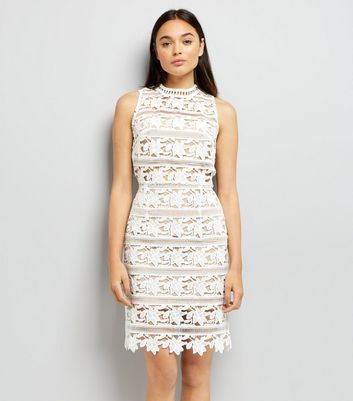 White Premium Lace Sleeveless Bodycon Dress