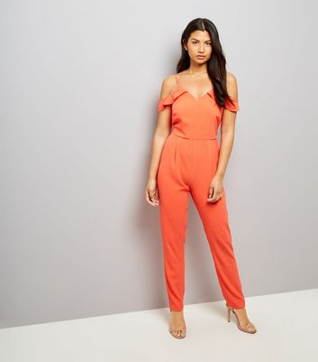 Orange Cold Shoulder Jumpsuit