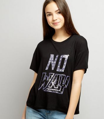 Ados - T-shirt court noir No Way à paillettes