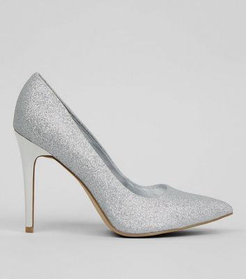 Wide Fit Silver Glitter Pointed Court Heels