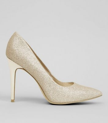 Wide Fit Gold Glitter Pointed Court Heels