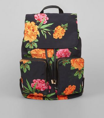 Black Tropical Floral Print Backpack