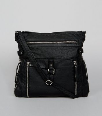 Black Zip Detail Cross Body Bag