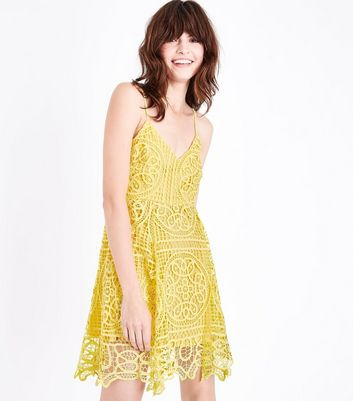 Yellow Crochet Lace Skater Dress
