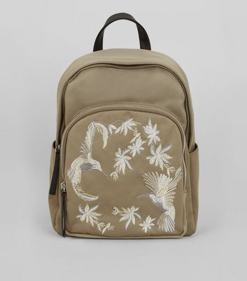 Khaki Bird Embroidered Backpack