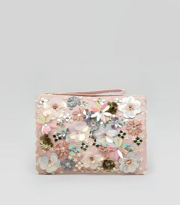 Pink 3D Flower Embellished Purse