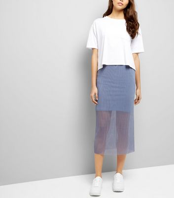Grey Sheer Pleated Half Lined Midi Skirt