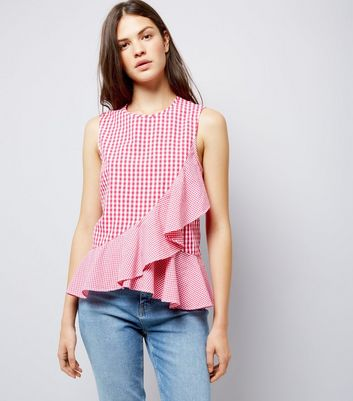 Tall Pink Gingham Asymmetric Frill Top