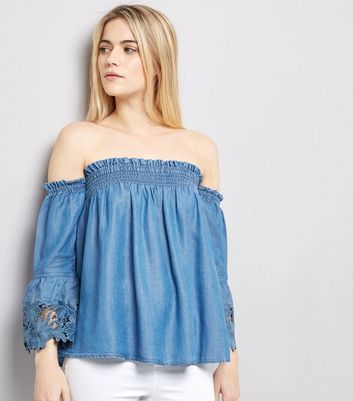 Blue Lace Cuff Bardot Neck Top