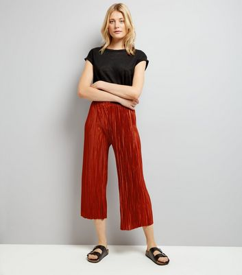 Brown Pleated Culottes