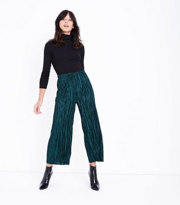 Dark Green Pleated Culottes